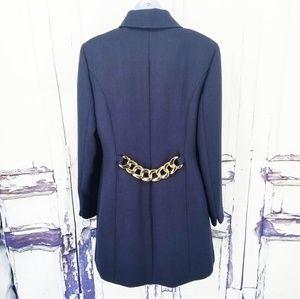 INC Coat Blazer Medium Blue Career Gold Rare EUC